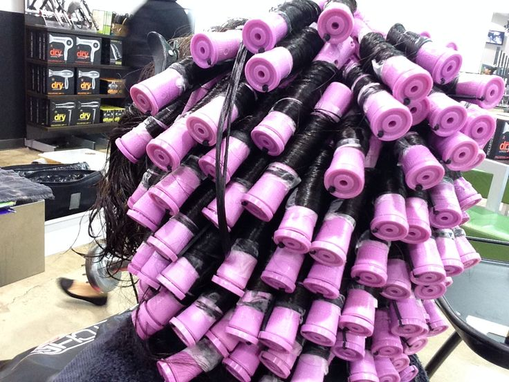 Almost Done Rolling Purple Rod Perm Face Hair Perm