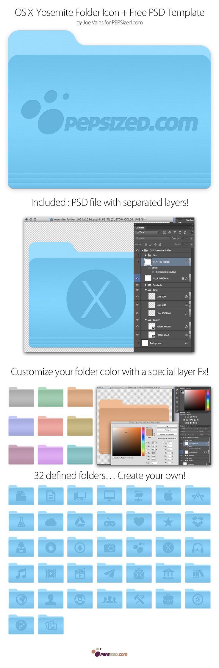 46 OSX Yosemite Folders Icons + PSD Template