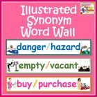 This Illustrated Synonym Word Wall set includes 60 word wall cards with pairs of synonyms and a large 'definition of a homophone' sentence strip. $ #vocabulary