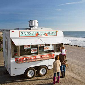 Crab lovers, man your smartphones: This crustacean-wheeling food truck travels around the Half Moon Bay area and can be tracked via Twitter (@poppyscrabshack), Facebook (facebook.com/poppyscrabshack), and its Web site. Once they've set up shop (usually ne
