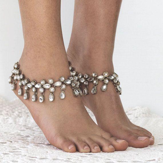 silver barefoot sandals silver barefoot sandals indian wedding anklet bridal anklet wedding. Black Bedroom Furniture Sets. Home Design Ideas