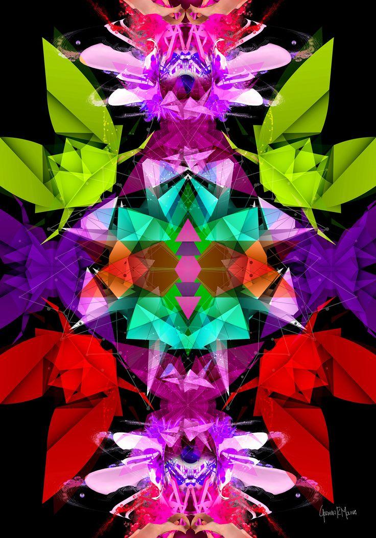 Explosión Geométrica 2 -Arte Digital German Molina - Tamaño 100 x 70 cms - Papel Fotográfico sobre soporte de madera - Disponible