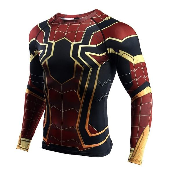Mens Compression Shirt Marvel The Avengers 4 Endgame Pattern 3D Long Sleeved Top