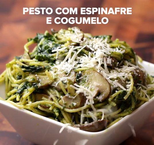 Pesto com espinafre e cogumelo | Aprenda quatro receitas fáceis e deliciosas de espaguete