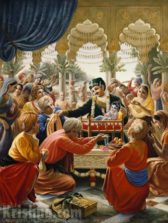 Nanda Maharaja was overwhelmed with jubliation when Lord Krishna appeared as his son. He arranged for a magnificent birth ceremony according to the Vedic regulations and invited brahmanas to recite Vedic mantras. He arranged for the worship of the demigods and forefathers and he gave two million cows, decorated with cloth and jewels, as well as seven hills of grain, in charity to the brahmanas. Summarized from Krishna Book, Chapter 5, Meeting of Nanda and Vasudeva