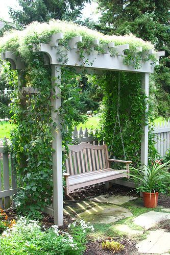 #PinMyDreamBackyard Wouldn't you enjoy a relaxing swing here. Especially love the climbing plants on the sides and top.