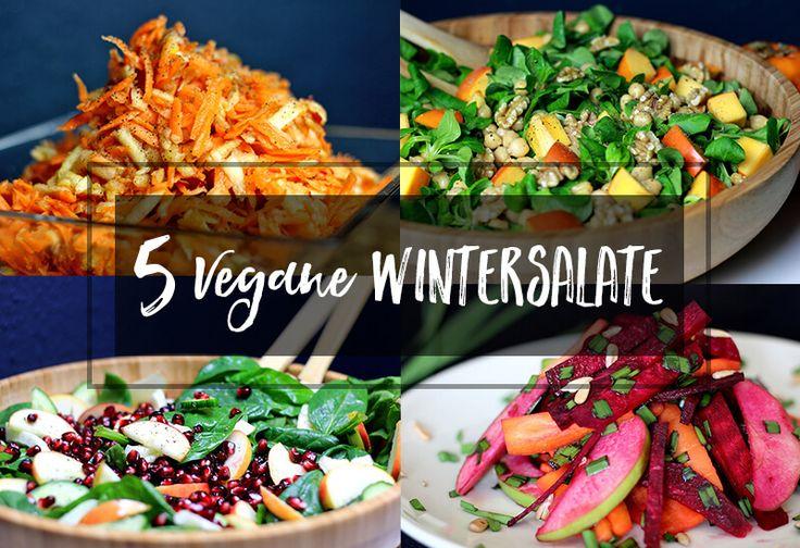 Vegane Salate müssen nicht langweilig sein. Hier bekommst du 5 vegane Salate für den Winter, die bunt, abwechslungsreich und super lecker sind.