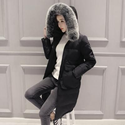 HIJKLNL 2017 Women Down Jacket For Girls Winter Fur Collar Hooded Ladies Plus Size Down Coat Long Parkas Mujer Invierno HB163