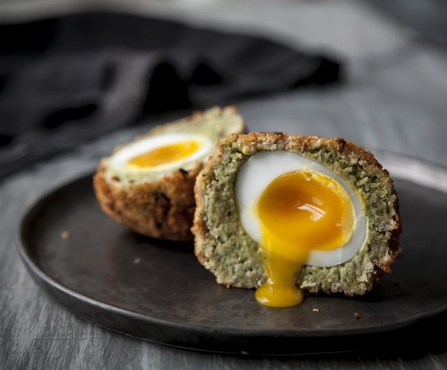 Falafel Duck Scotch Eggs - A classic snack with a Middle-Eastern twist. Perfect just out of the oven with a runny yolk and just as delicious eaten cold. We loved ours with a little harissa, but mustard, pickle and tzatziki work really well too! Full recipe: http://po.st/Dc3hM2