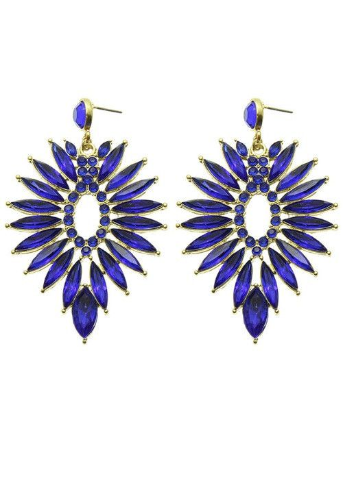 Crystal Chandelier Statement Earrings (Blue) – EvaMaria Boutique