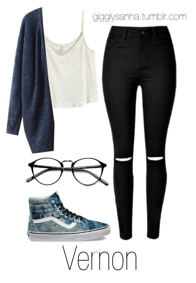 """Casual City Date // Vernon"" by suga-infires ❤ liked on Polyvore featuring H&M and Vans"
