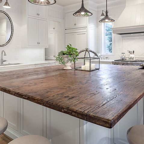 Rustic Reclaimed Wood Top For Large Kitchen Island Counter