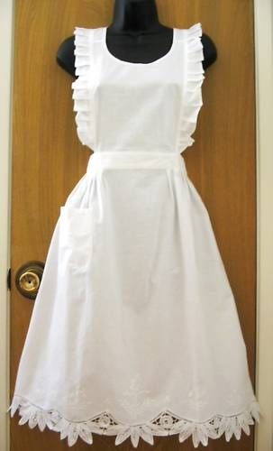 New White Battenburg Lace Ruffles Bib Apron Halloween x'mas Thanksgiving Costume | eBay