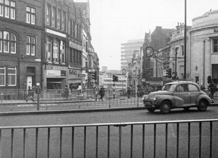 Market Street, Nottingham, 1973. Looking south from Theatre Square; Christmas decorations were not illuminated owing to fuel crisis.