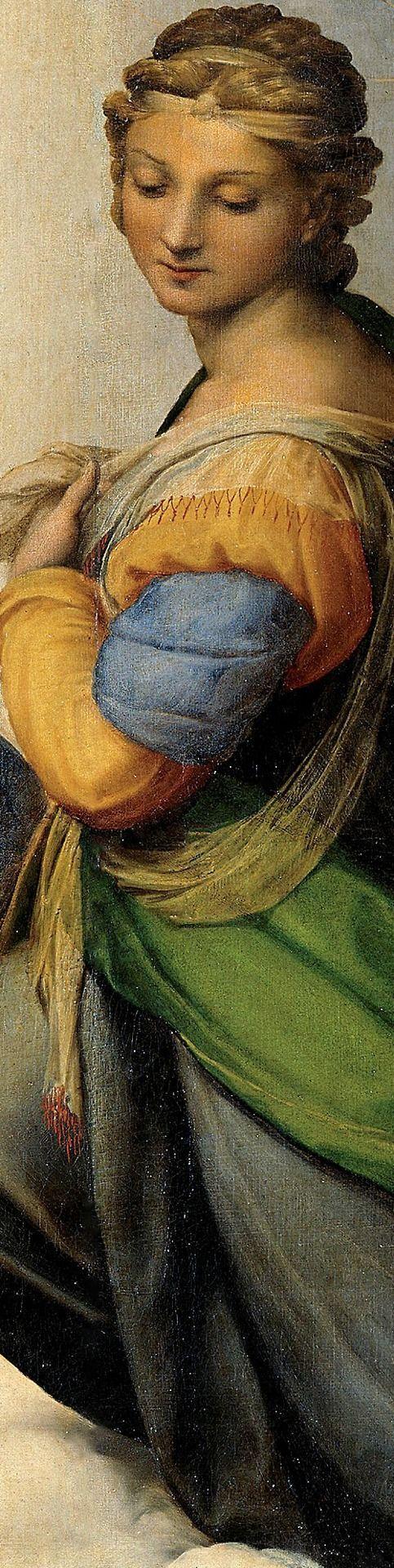 RAPHAEL ( 1483-1520). La Madone Sixtine (ou Madonna Sistina ou Madonna di San Sisto). Haute Renaissance. Détail du tableau  ( 265x196 cm) conservé à la Gemäldegalerie Alte Meister,  Dresde, Allemagne.