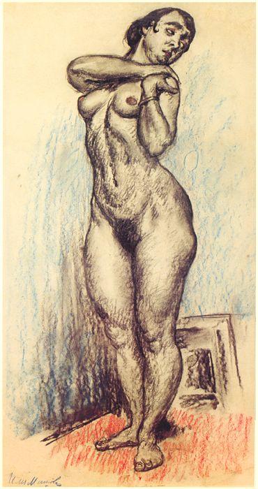 Nude standing and resting her hands on her left shoulder by Ilya Mashkov
