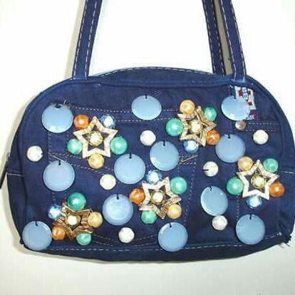 Blue Jeans purse with plexiglass and metal decorations www.etsy.com/it/shop/ArtMadeBijoux