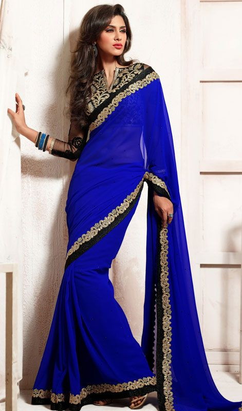 Blue Embroidered Chiffon Georgette Saree