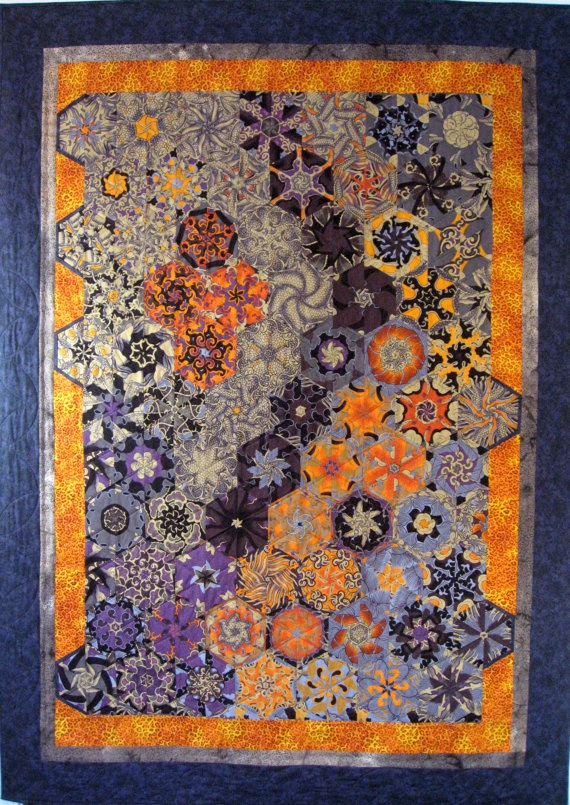 Really outside my box quilt! Art Quilt Tangerine Dragon Wall Hanging or Throw by SallyManke, $275.00