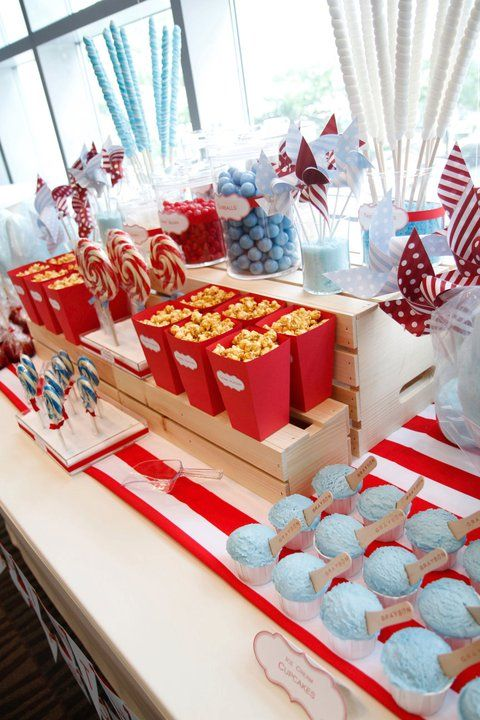 Carnival Themed Candy Bar https://www.etsy.com/listing/153945445/12-carnival-themed-popcorn-boxes-with?