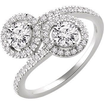 Engagement Ring 1/4 CTW Diamond Semi-mount 2-Stone Engagement Ring for 4.25mm Round Centers #twostone #WeddingTrends Locate a jeweler here: http://www.stuller.com/locateajeweler/