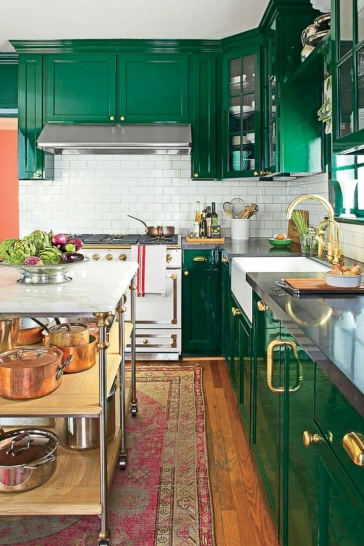 35 stunning bright colorful kitchen design ideas eclectic kitchen green kitchen cabinets on kitchen ideas colorful id=67149