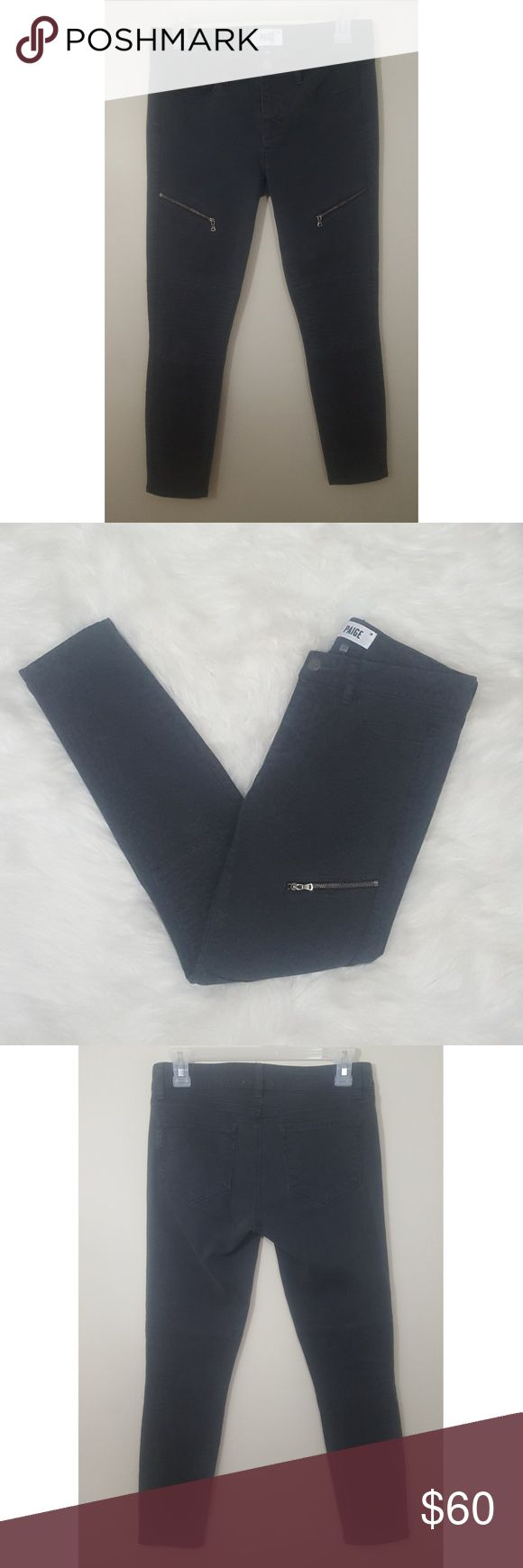 """Paige Zipper Skinny Jeans Paige brand. Charcoal gray color. Zipper on each leg. Skinny Jeans. Size 27.  Measurements are approximate and taken while laid flat:  Inseam: 26"""" Outseam: 34"""" Rise: 8.5"""" Leg Opening: 5"""" PAIGE Jeans Skinny"""