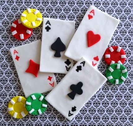 12 Fondant Edible cupcake/cake toppers  Poker by TopCakeDecors, $24.00