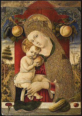 Carlo CRIVELLI | Madonna and Child [Madonna col Bambino], c. 1482-83, tempera et or sur panneau, 45,9 x 33,6 cm, Bergame, Accademia Carrara