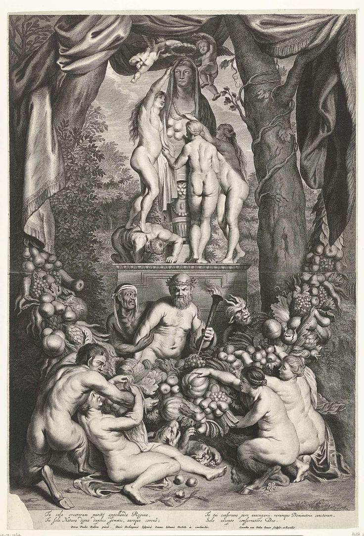 Cornelis van Dalen (II) | Allegorie op de Natuur, Cornelis van Dalen (II), 1648 - 1664 | Allegorie op de Natuur met nimfen die buste eren van Diana met vele borsten. Voor de sokkel van het beeld zitten Bacchus, nimfen en vrouwelijke en mannelijke saters die groenten en fruit plukken van een grote guirlande waarvan ook dieren eten.