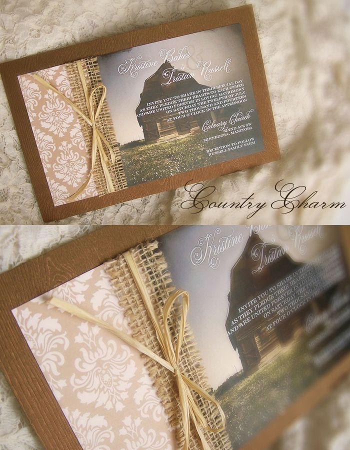 ideas for country wedding invitations%0A Wedding Invitation  Country Charm with Burlap by  Enchanted Moments   Invitations  u     Cards
