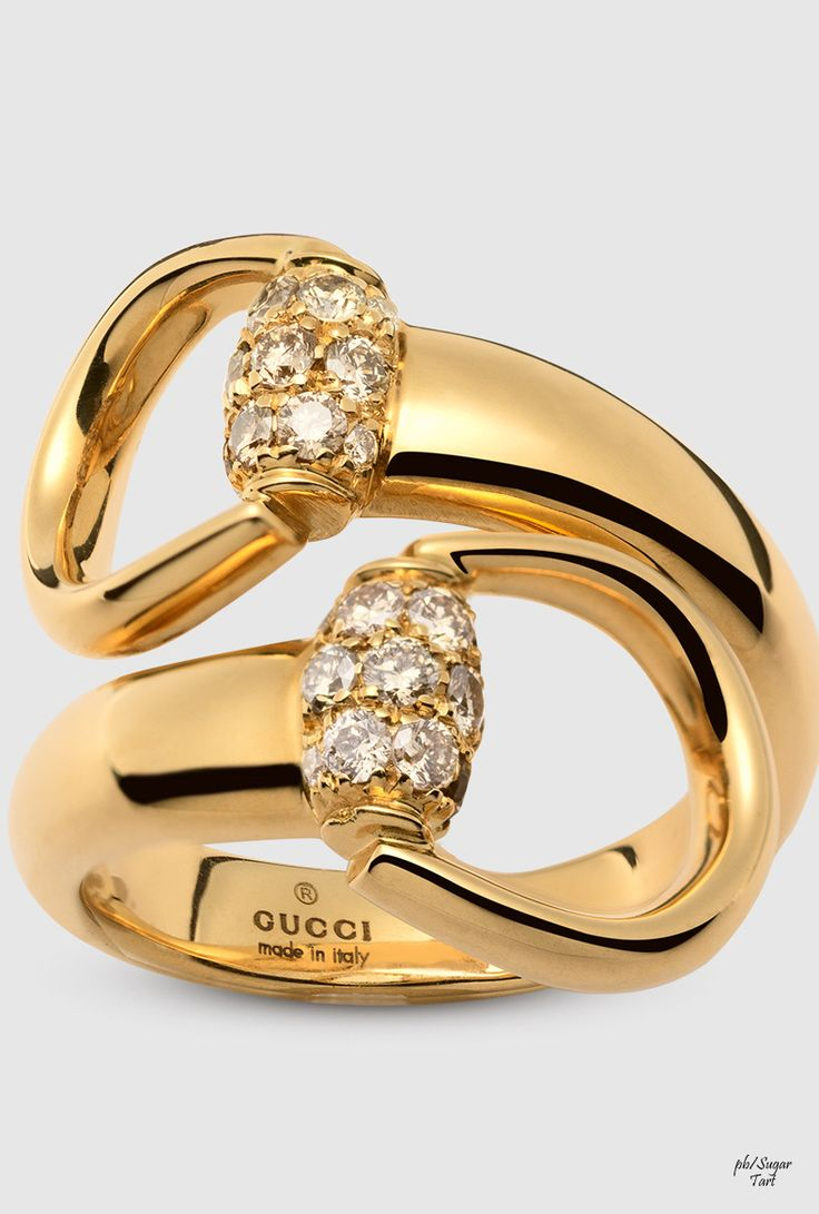 New Gucci Gold Horse Bit Ring with Diamonds