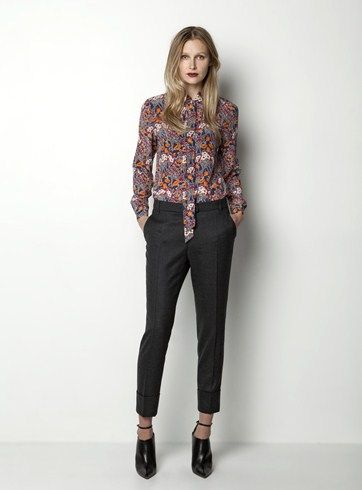 Helen Cherry Emma Blouse (Navy) & Slim Cuffed Pant (Charcoal Melange) #HelenCherry