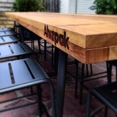création PA// fabrication pays basque // bois métal table d'extérieur // Bidart