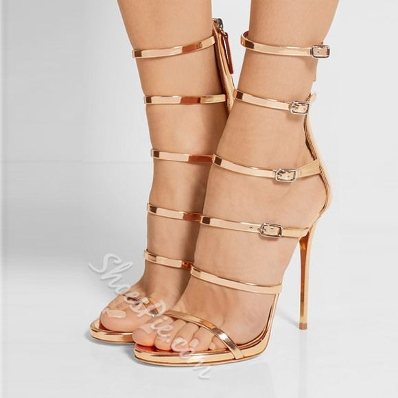 Shoespie Golden Strappy Buckles Dress Sandals