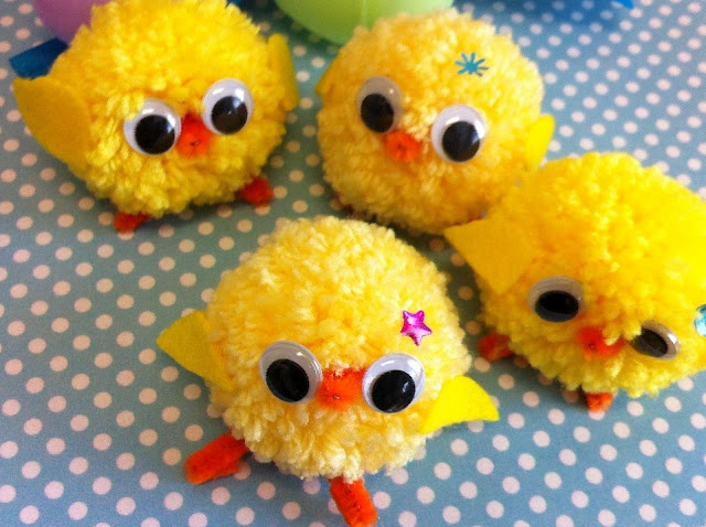More pom-pom yarn chicks - i would stitch the eyes with yarn instead of googly, I think.