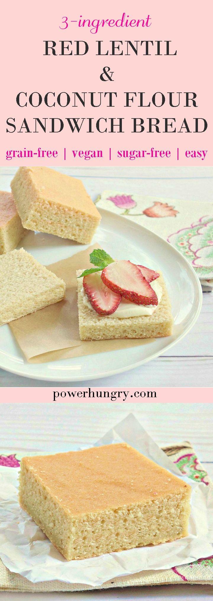 Fluffy Red Lentil Bread Grain Free Vegan Power Hungry Recipe Lentil Sandwich Lentil Bread Coconut Flour