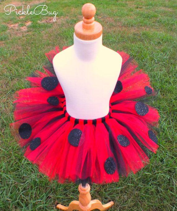 First Birthday Ladybug Tutu - Sewn Tutu - Ladybug Costume - Toddler Baby Girls Tutu - Sparkle Spots SEWN to Tulle