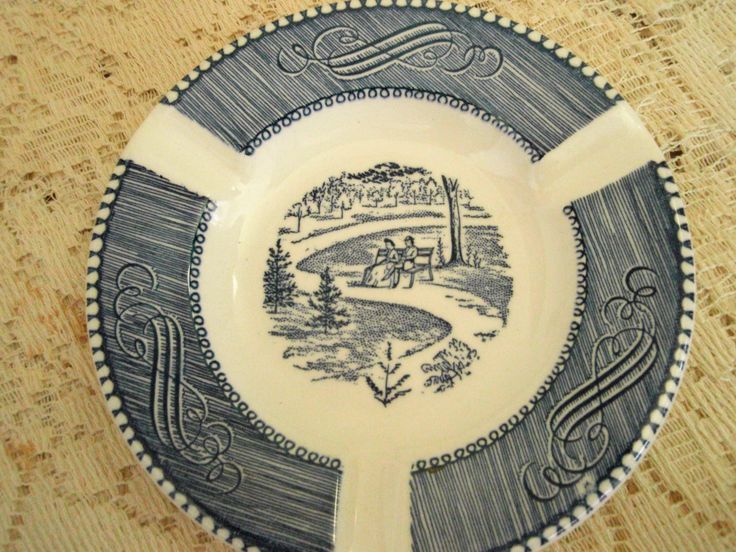 Vintage  blue and white ashtray, Currier and Ives Blue and White Ash Tray by Royal China. Currier and Ives Park Bench by SocialmarysTreasures on Etsy