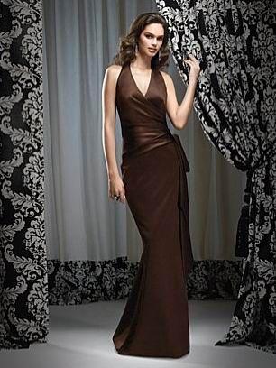 Backless Halter V-Neck Left Flower Wine Satin Court Train Evening Dress