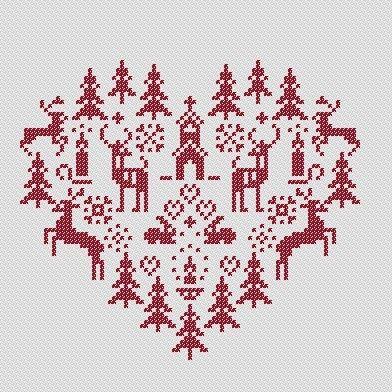 Christmas heart PDF Cross Stitch Pattern by PatternBird on Etsy