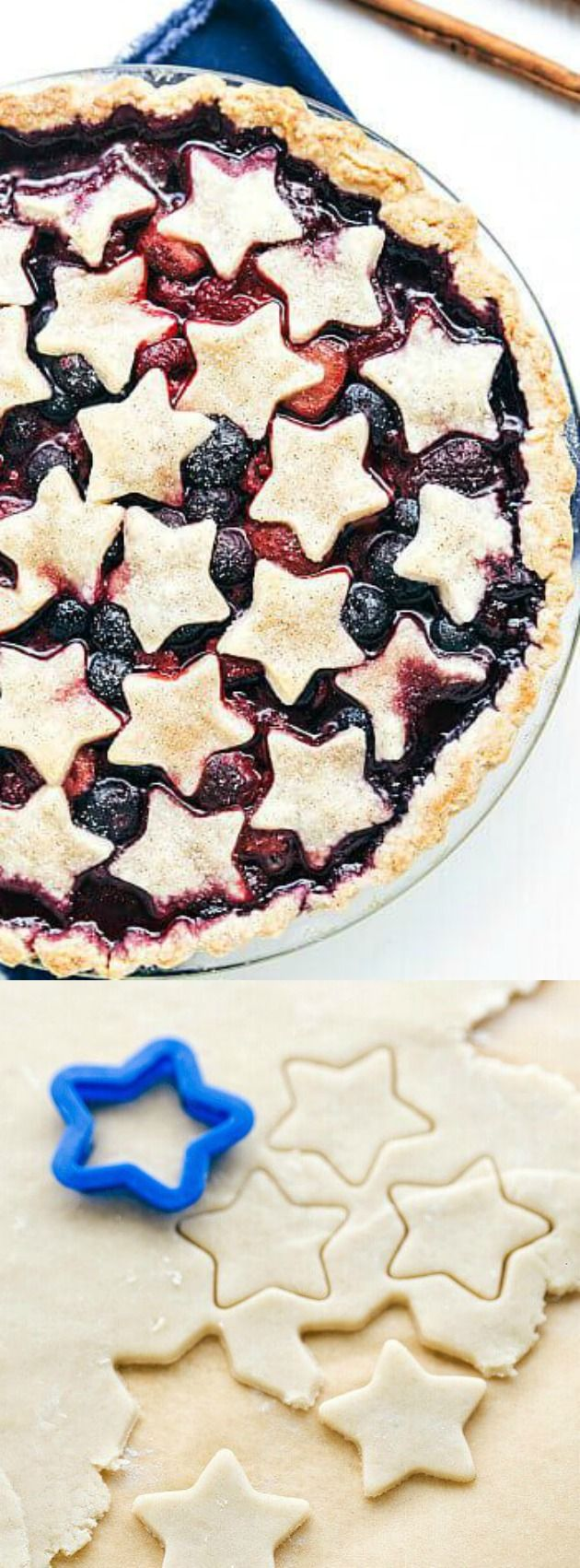 This Triple Berry Pie from The Recipe Critic is a fun patriotic dessert that is perfect for your summer get-togethers! It's made with simple ingredients and a star patterned crust which will make it a favorite anywhere you take it!
