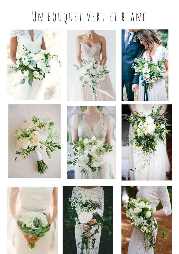Des idées de bouquets de mariée en veux-tu en voilà! Un bouquet vert et blanc. L'ensemble de l'article à retrouver sur le blog http://mesptitsbonbons.blogspot.fr/