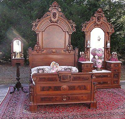 Beautiful Victorian Walnut Ansonia Head Bedroom Set