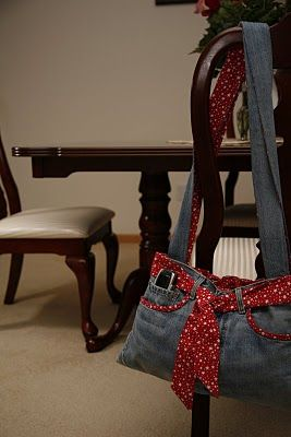 add snazzy lining fabric and embellishments to create your own unique denim purse from an old pair of jeans