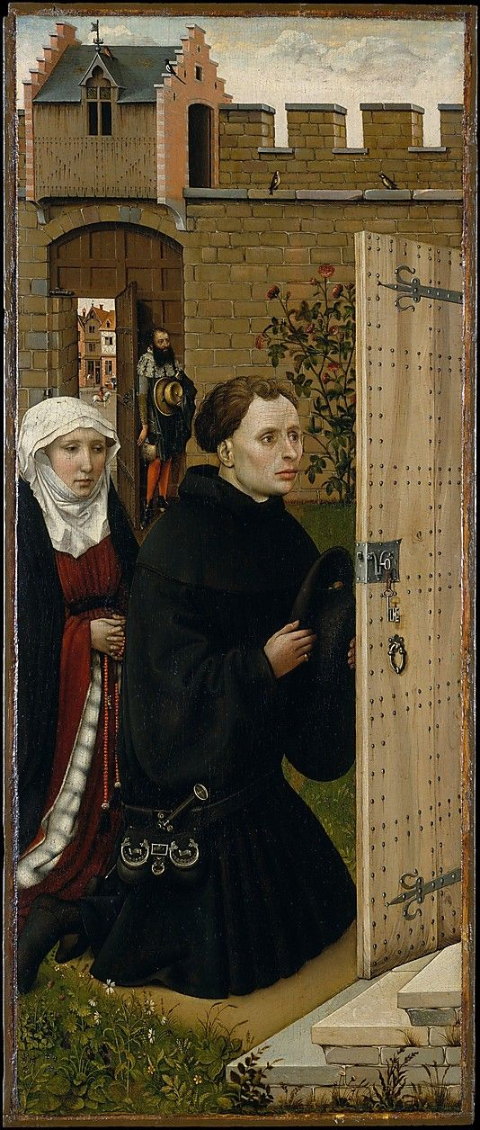 Robert Campin? Donors. Left panel of the Merode Altarpiece (Annunciation Triptych). c. 1427-32. South Netherlandish/Tournai. The Cloisters, New York.