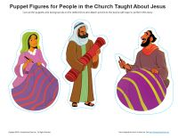 Acts 17:1-18:21; Paul Preached in Europe-Paul, Priscilla & Aquila Puppet Figures & Background Props