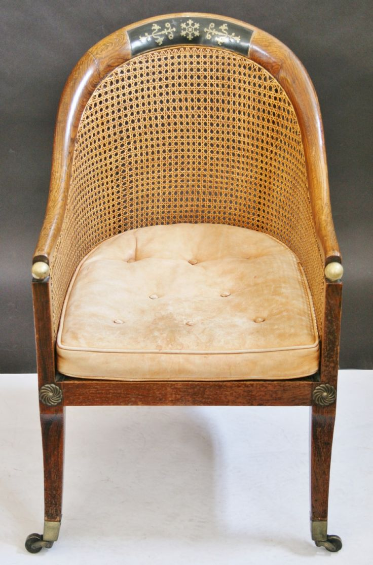 Regency Simulated Rosewood Tub Shaped Bergere Armchair.