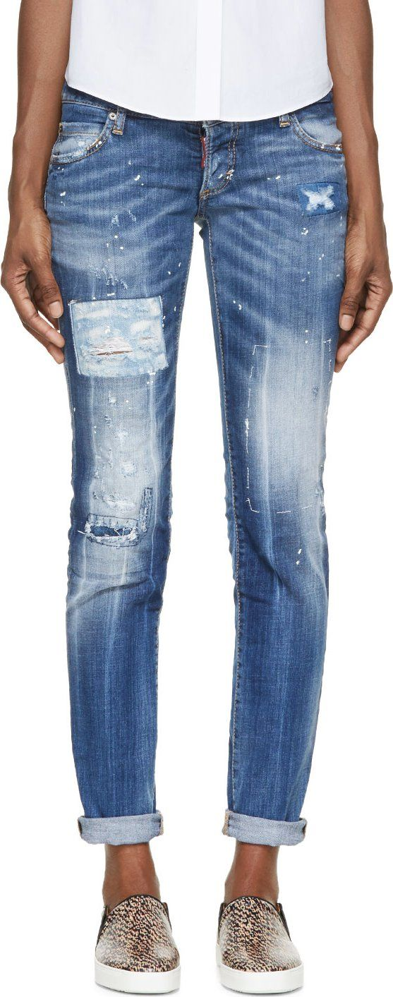 Dsquared2 Blue Distressed & Patched Slim Jeans