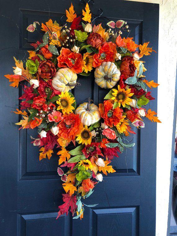 Xl Fall Wreath Fall Wreaths Autumn Wreaths Front Door Wreaths Orange